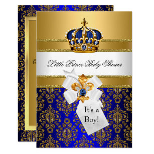 Little prince baby shower invitations zazzle royal blue little prince crown baby shower invite filmwisefo