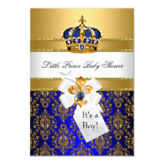 Royal Blue Little Prince Crown Baby Shower Invite at Zazzle