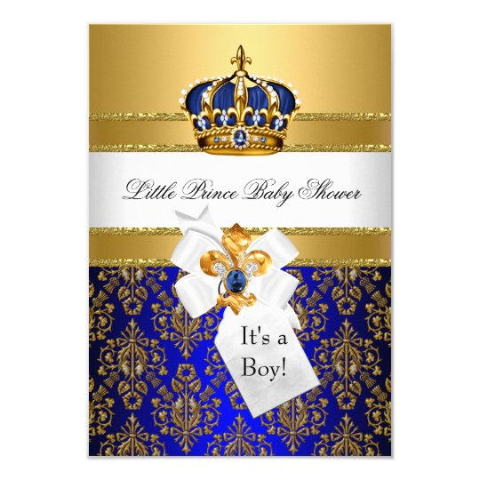 royal blue little prince crown baby shower invite  zazzle, Baby shower