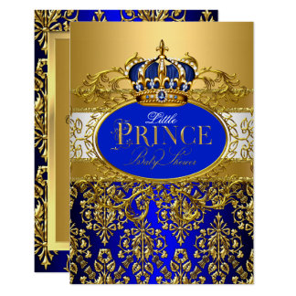 Royal Blue Little Prince Crown Baby Shower sml Card