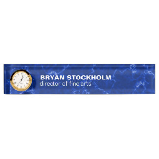 Royal Blue Marble with White Veins Desk Name Plate