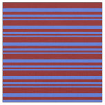 [ Thumbnail: Royal Blue & Maroon Stripes Fabric ]