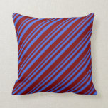 [ Thumbnail: Royal Blue & Maroon Stripes Throw Pillow ]