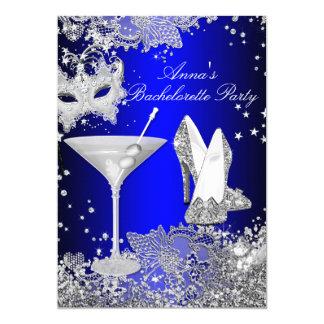 Royal Blue Mask & Jewel Lace Bachelorette Party 13 Cm X 18 Cm Invitation Card