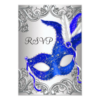 Royal Blue Mask Masquerade Party RSVP Card