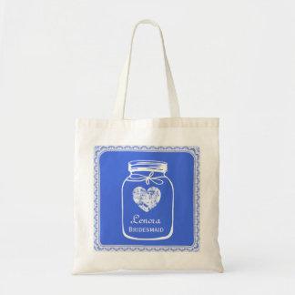 Royal Blue Mason Jar Wedding Tote BRIDESMAID A05A
