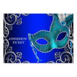 Royal Blue Masquerade Party Admission Tickets Business Cards