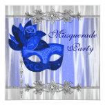 "Royal Blue Masquerade Party 5.25"" Square Invitation Card"