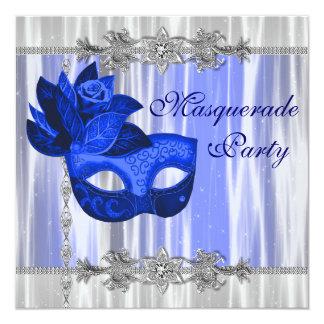 Royal Blue Masquerade Party 5.25x5.25 Square Paper Invitation Card