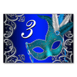 Royal Blue Masquerade Party Table Cards