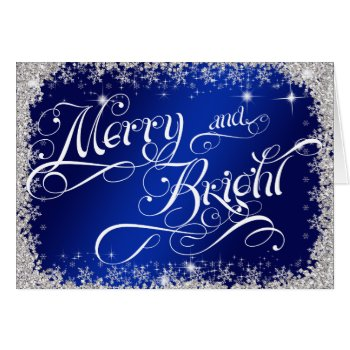 Royal Blue Merry and Bright Holiday Customized Card