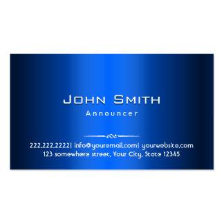 Royal Blue Metal Announcer Business Card