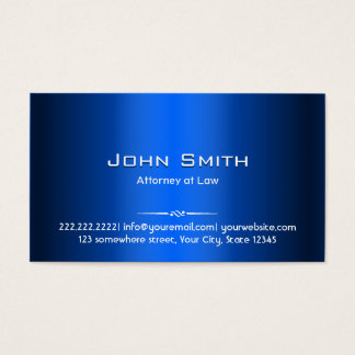 Royal Blue Metal Attorney Business Card