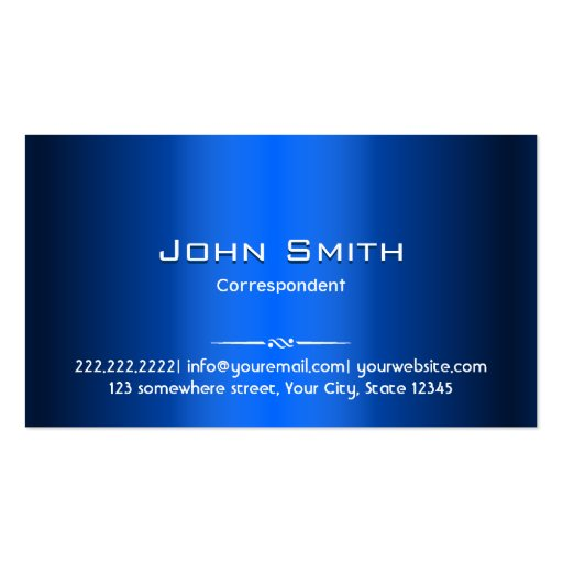 Royal Blue Metal Correspondent Business Card