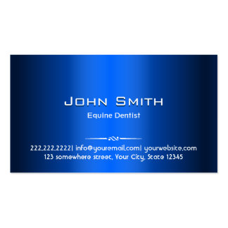 Royal Blue Metal Equine Dentist Business Card