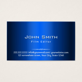 Royal Blue Metal Film Editor Business Card