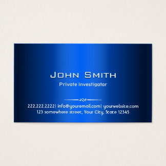 Royal Blue Metal Investigator Business Card