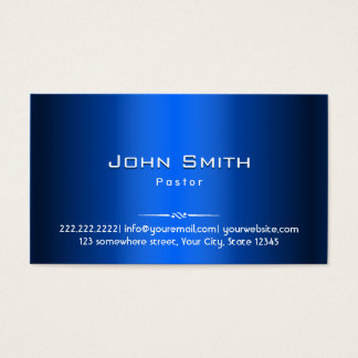 Royal Blue Metal Pastor Business Card