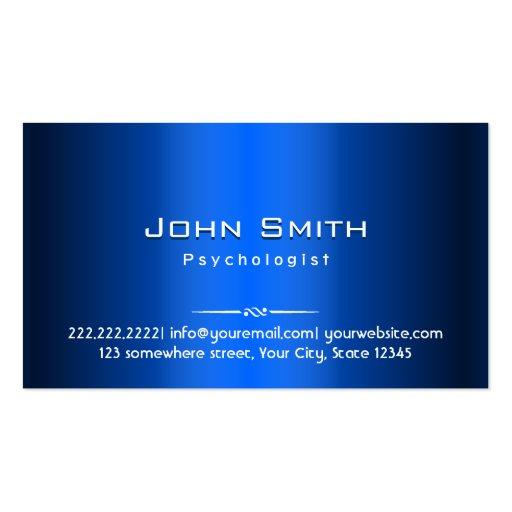 Royal Blue Metal Psychologist Business Card