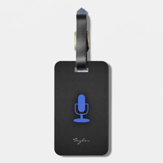 Royal Blue Microphone Luggage Tag