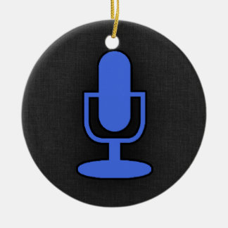 Royal Blue Microphone Double-Sided Ceramic Round Christmas Ornament