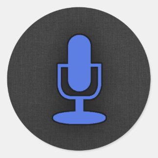 Royal Blue Microphone Round Sticker