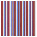 [ Thumbnail: Royal Blue, Mint Cream & Maroon Colored Stripes Fabric ]