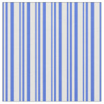 [ Thumbnail: Royal Blue & Mint Cream Stripes Pattern Fabric ]