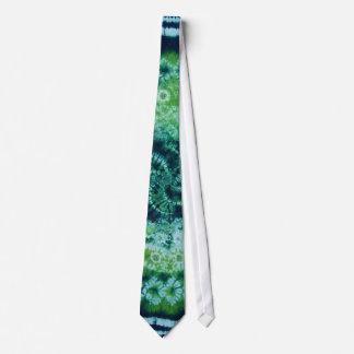 Royal Blue+Mint Green+White Oriental Tie Dye Print