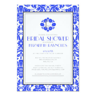 Royal Blue Monogram Damask Bridal Shower Invites