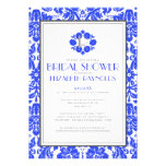 Royal Blue Monogram Damask Bridal Shower Invites Personalized Announcement