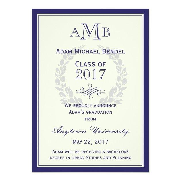Royal Blue Monogram Graduation Announcement (front side)