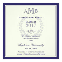 Royal Blue Monogram Graduation Announcement