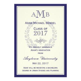 Royal Blue Monogram Graduation Announcement