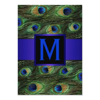 Royal Blue Monogram Peacock Card