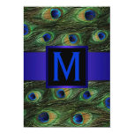 Royal Blue Monogram Peacock 5x7 Paper Invitation Card