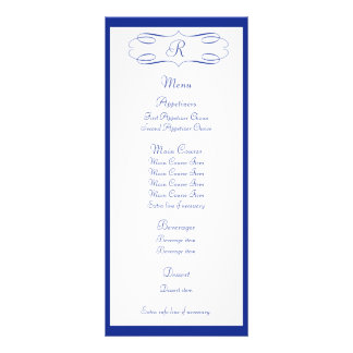 Royal Blue Monogram Wedding Menu Rack Card