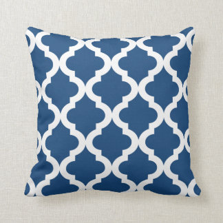 royal blue moroccan quatrefoil print throw pillow