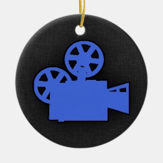 Royal Blue Movie Camera Double-Sided Ceramic Round Christmas Ornament