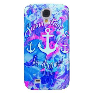 Royal Blue Nautical Poppies Art. Galaxy S4 Cover