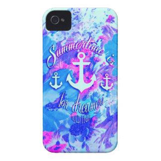 Royal Blue Nautical Poppies Art. iPhone 4 Case