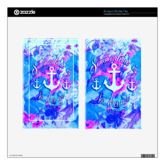 Royal Blue Nautical Poppies Art. Kindle Fire Decal