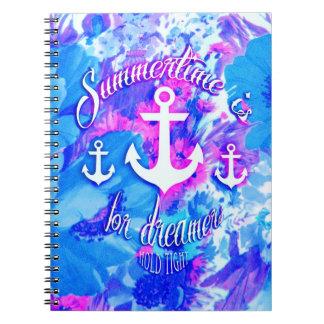 Royal Blue Nautical Poppies Art. Notebook
