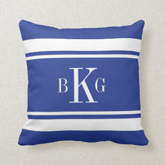 Royal Blue Nautical Stripes Custom Monogram Throw Pillow