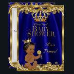 "Royal Blue Navy Gold Prince Baby Shower Ethnic Card<br><div class=""desc"">Boy Baby Shower Royal Blue Navy Gold Crown. Royal blue. For Prince Baby Boy. Couples Baby Shower. Ethnic African American baby shower</div>"