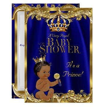 VintageBabyShop Royal Blue Navy Gold Prince Baby Shower Ethnic Card