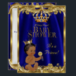 "Royal Blue Navy Gold Prince Baby Shower Ethnic Invitation<br><div class=""desc"">Boy Baby Shower Royal Blue Navy Gold Crown. Royal blue. For Prince Baby Boy. Couples Baby Shower. Ethnic African American baby shower</div>"