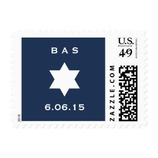 Royal Blue Navy Star Bar Mitzvah Postage