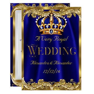 Royal Blue Navy Wedding Gold Crown 3 Card