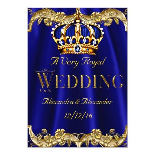 Royal Blue Navy Wedding Gold Crown 5x7 Paper Invitation Card